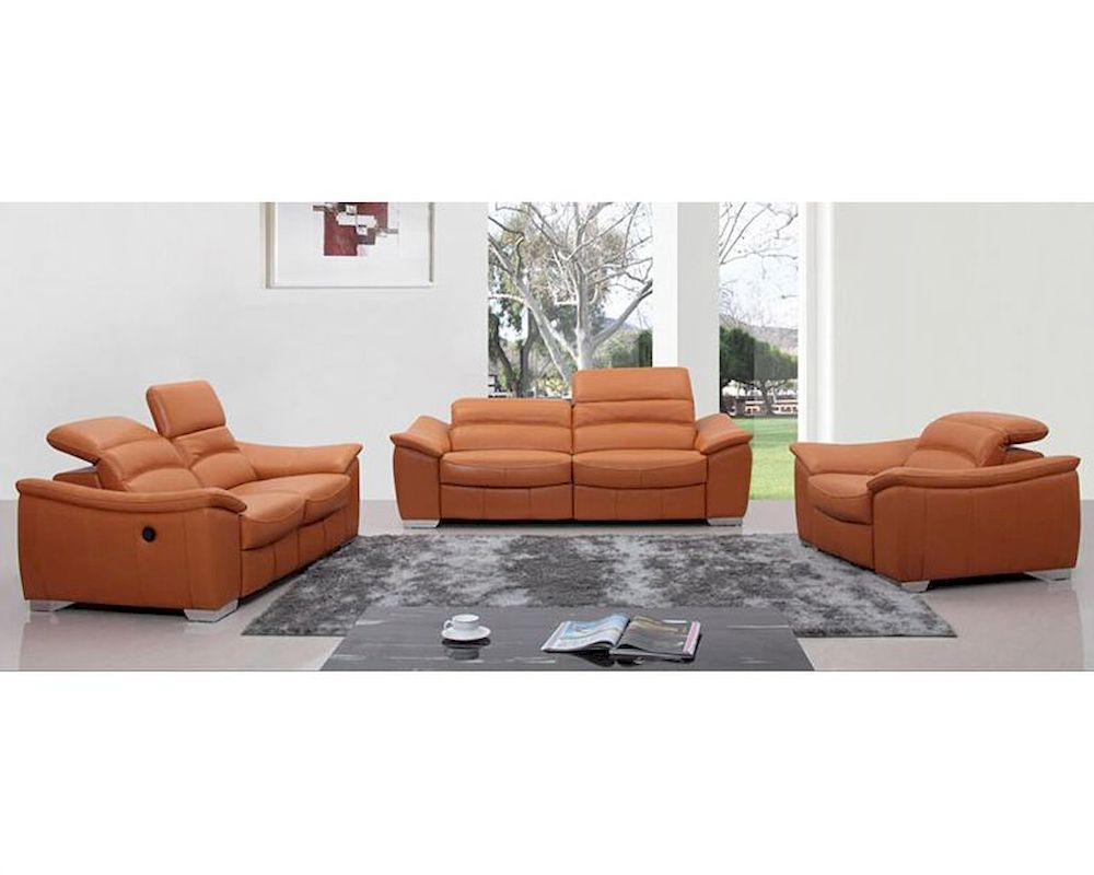 Modern Orange Italian Leather Sofa Set W Recliners 44l5405