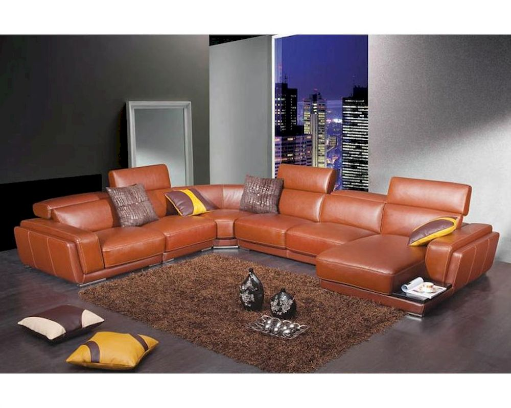 modern orange leather sectional sofa 44l2996. Black Bedroom Furniture Sets. Home Design Ideas