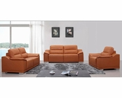 Modern Orange Leather Sofa Set 44L5607