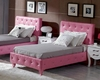 Modern Pink Leatherette Full Bed 44B138BD