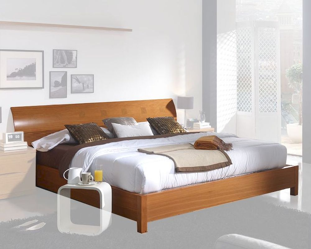 Modern platform bed in light cherry finish made in spain Modern platform beds
