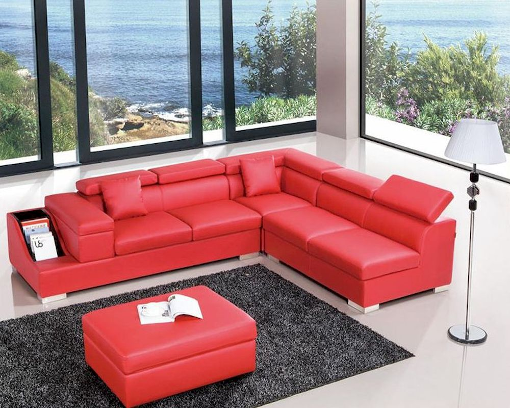 Modern Red Leather Sectional Sofa 44l6040