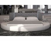 Modern Round Bed in Eco-Leather and w/ LED Lights 44B164BD