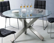 Modern Round Pedestal Glass Top Table European Design 33D232