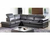 Modern Sectional Set and Ottoman in Grey Finish 33LS51