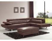 Modern Sectional Sofa and Ottoman in Brown Finish 33LS11