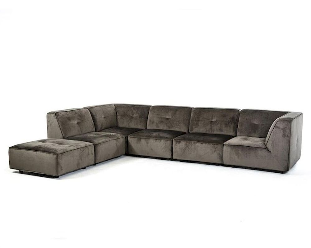 Modern sectional sofa in dark grey fabric 44l5925 for Modern sectional