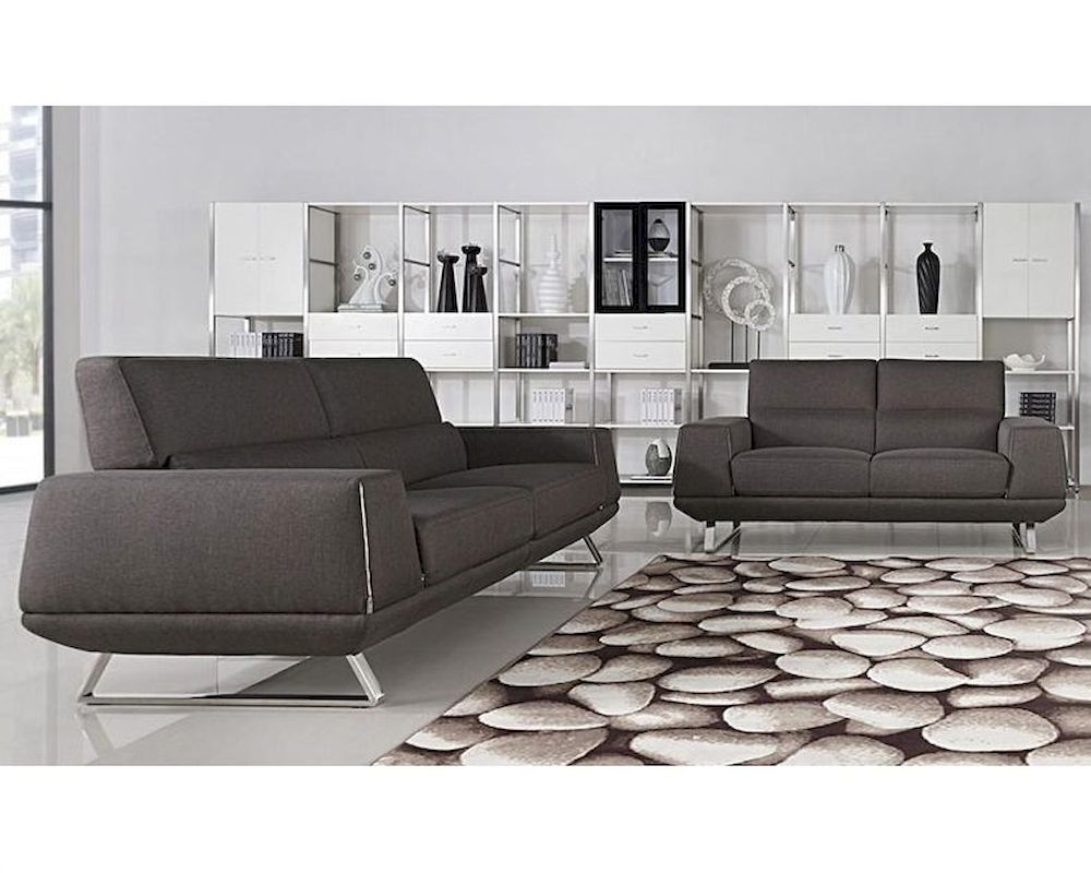 Modern grey fabric sofa set 44l5947 for Leather and fabric living room sets