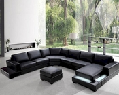 Modern Soft Black Leather Sectional Sofa Set 44L0693