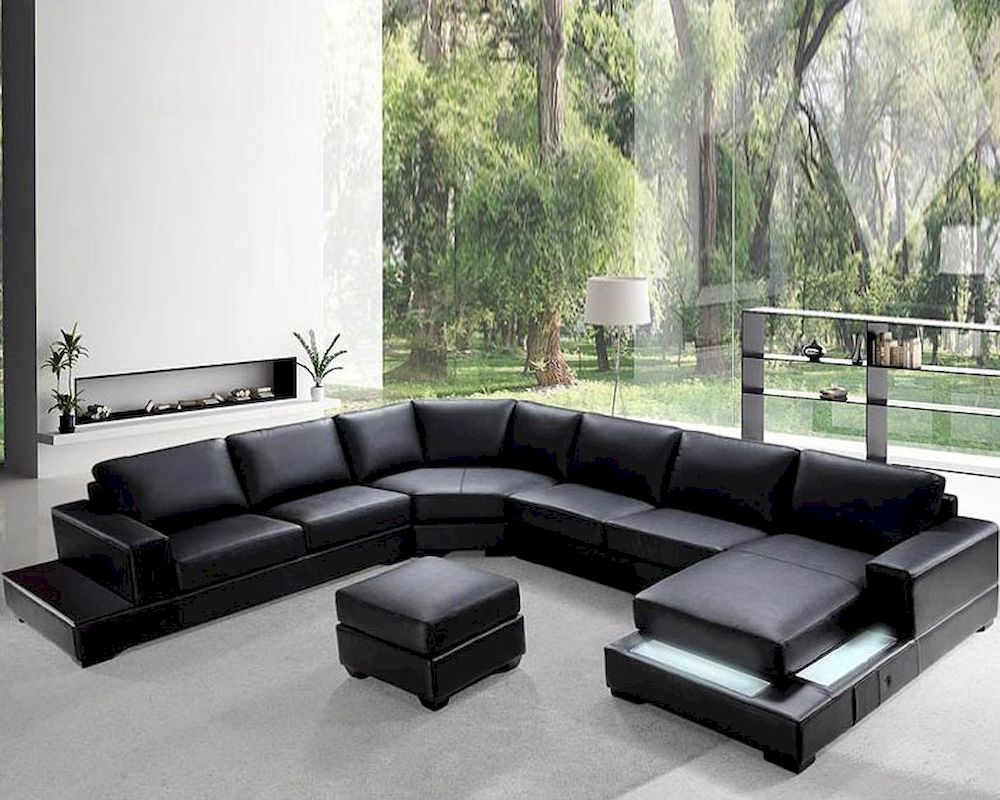Soft Black Leather Sectional Sofa Set 44L0693