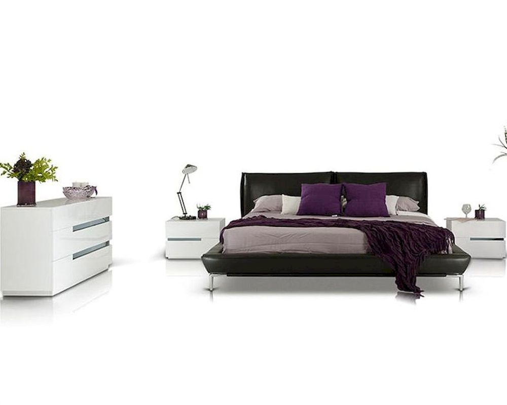 Modern Style Bedroom Set W Grey Leather Platform Bed