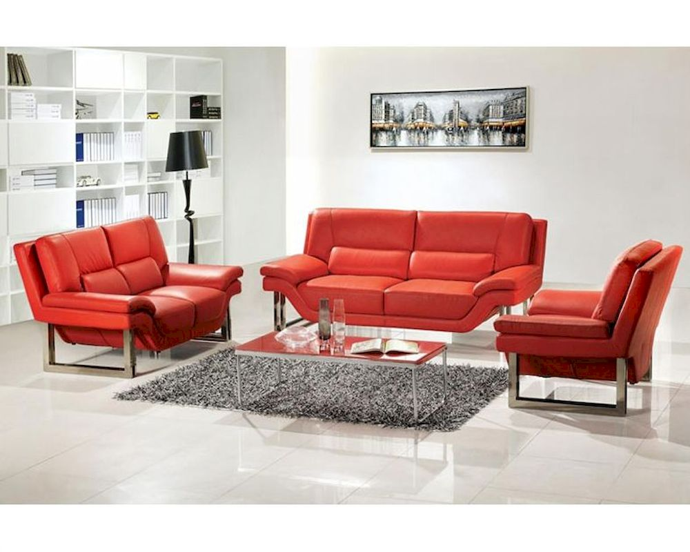 Modern Style Red Or White Leather Sofa Set 44l3807 Red