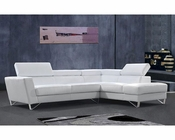 Modern Style Sectional Sofa in White or Beige Leather 44L6049