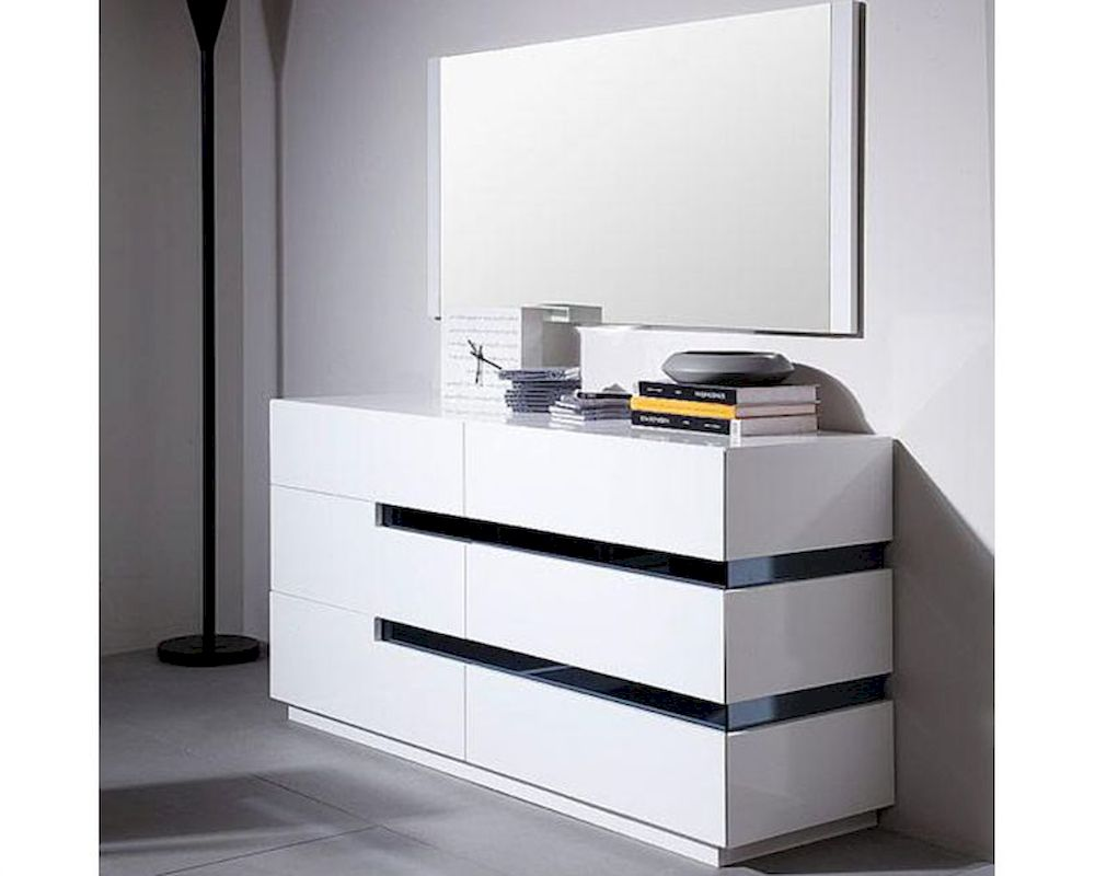modern style white dresser w mirror 44b1601dr. Black Bedroom Furniture Sets. Home Design Ideas