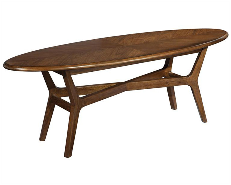 Modern surfboard coffee table mid century by hekman he for Mid century modern coffee table