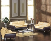 Modern Two Tone Bonded Leather Sofa Set with Sofa Bed 44L2819