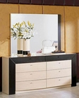 Modern Two Tone Double Dresser and Mirror Made in Italy 44B2214