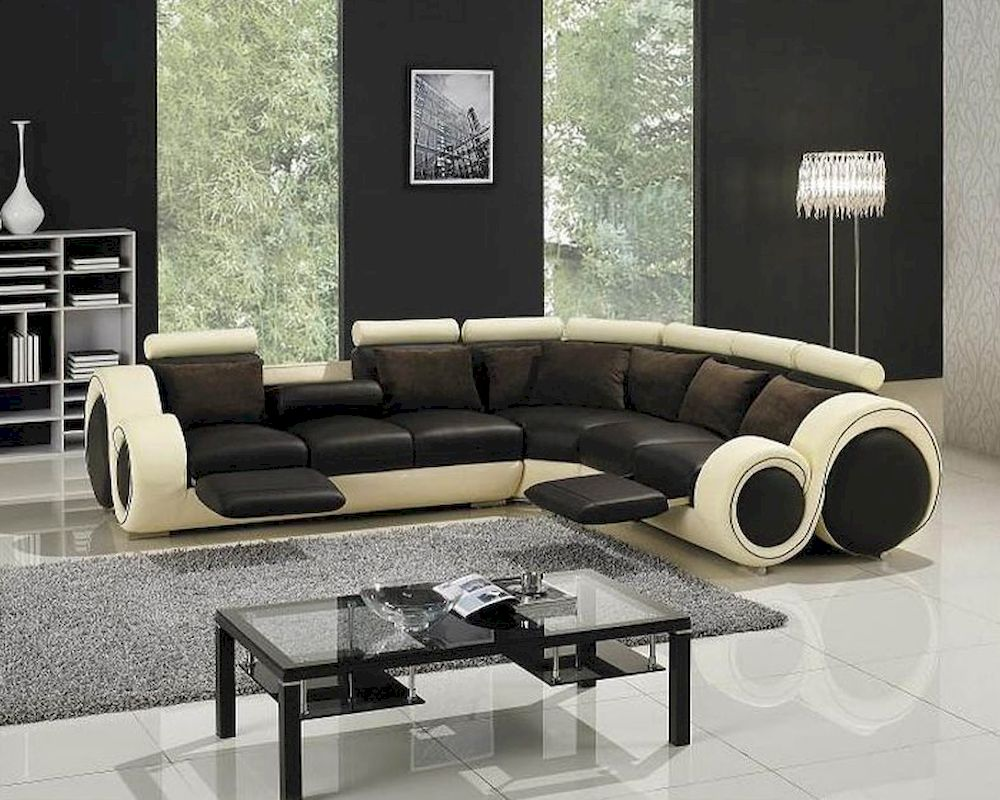 Modern two tone leather sectional sofa set with recliners for Modern sectional sofas