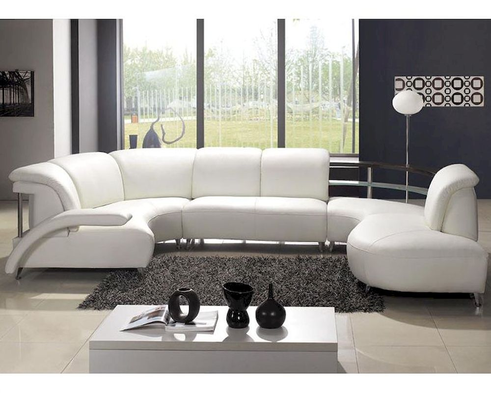 Modern Quot U Quot Shaped Leather Sectional Sofa 44lv104