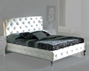 Modern Upholstered Platform Bed Natalia in White Made in Spain 33B312