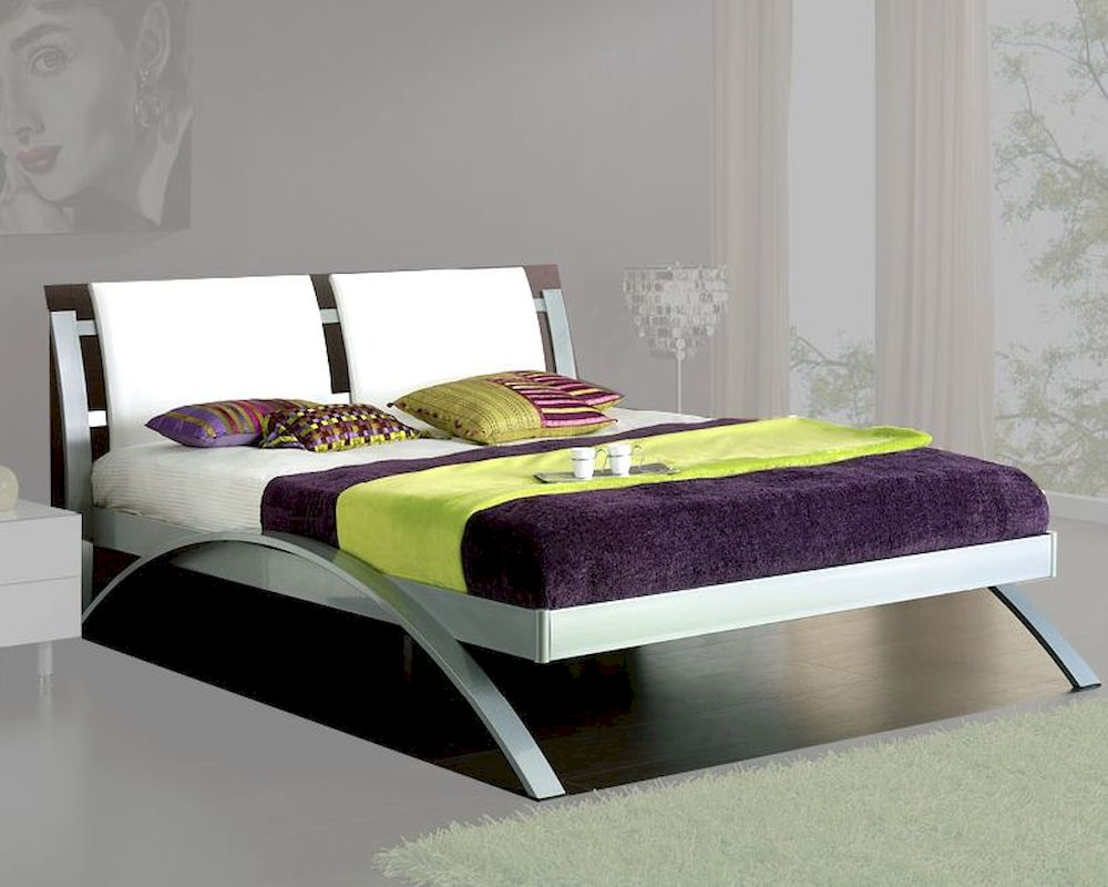 Modern Upholstered Platform Bed Nita In White Made In