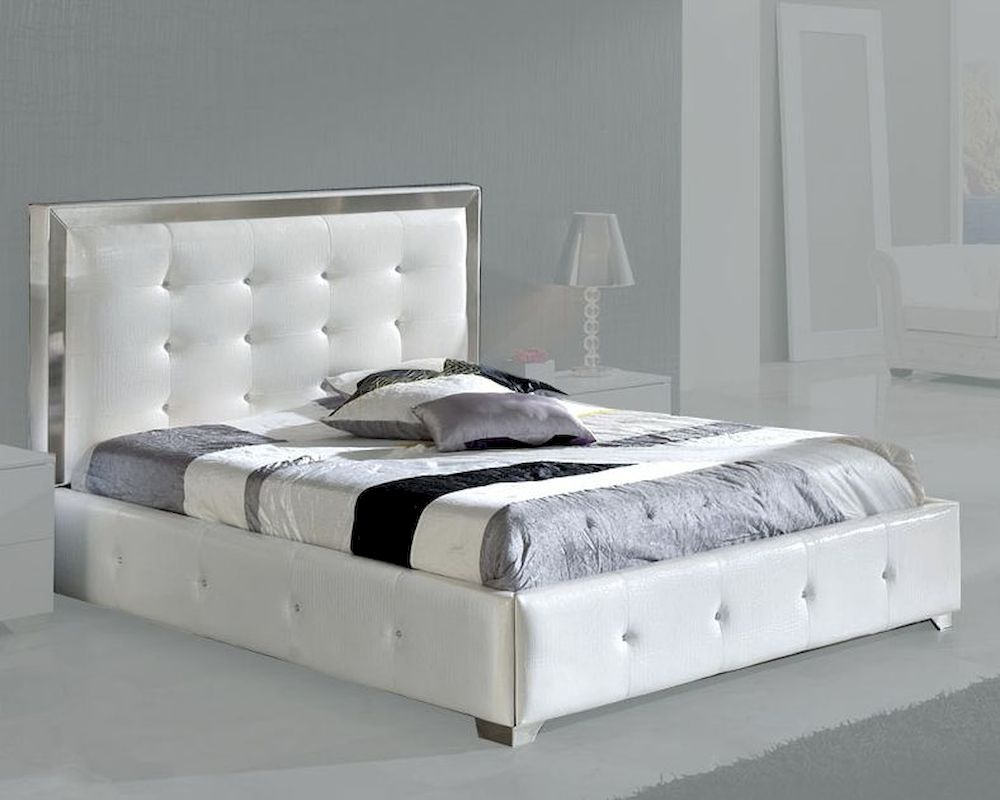size 40 2c040 43834 Modern Upholstered Platform Bed Valencia in White Made in ...