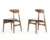 Modern Walnut and Black Dining Chair 44D12086 (Set of 2)