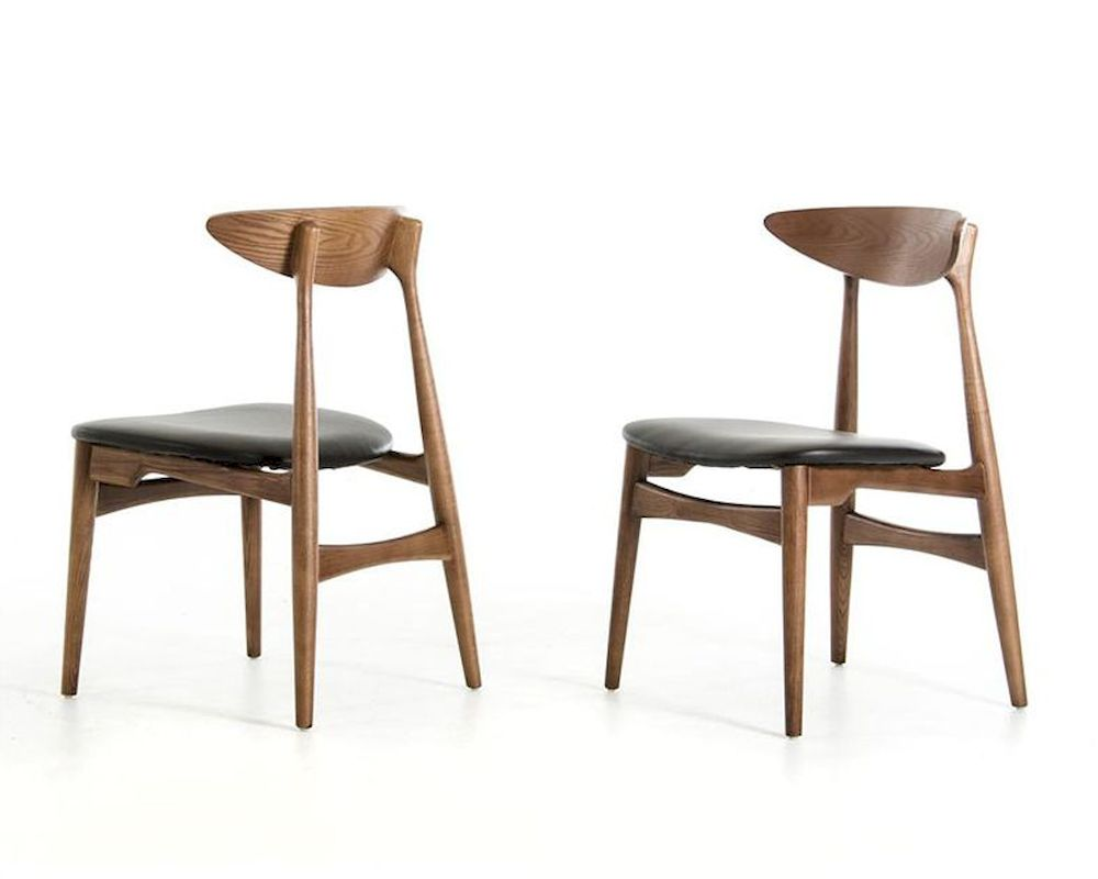 Modern walnut and black dining chair 44d12086 set of 2 for Modern black dining chairs