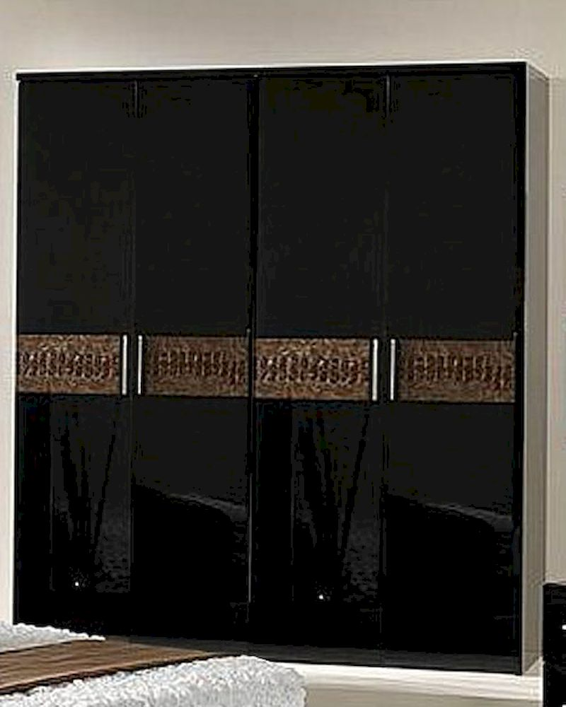 Modern Wardrobe In Black Brown Finish Made In Italy 44B5118BB