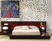 Modern Wenge/ Red Finish Bed with Night Stands Made in Italy 44B6512