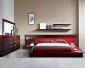 Modern Wenge/ Red Finish Bedroom Set Made in Italy 44B6511