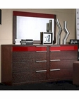 Modern Wenge/ Red Finish Dresser and Mirror Made in Italy 44B6514