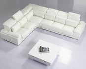 Modern White 3pc Leather Sectional Sofa Set 44LT93C