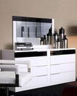 Modern White/ Black Finish Dresser and Mirror Made in Italy 44B3514