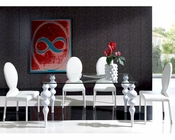 Modern White Dining Set Glass Top Table European Design Spain 33D211