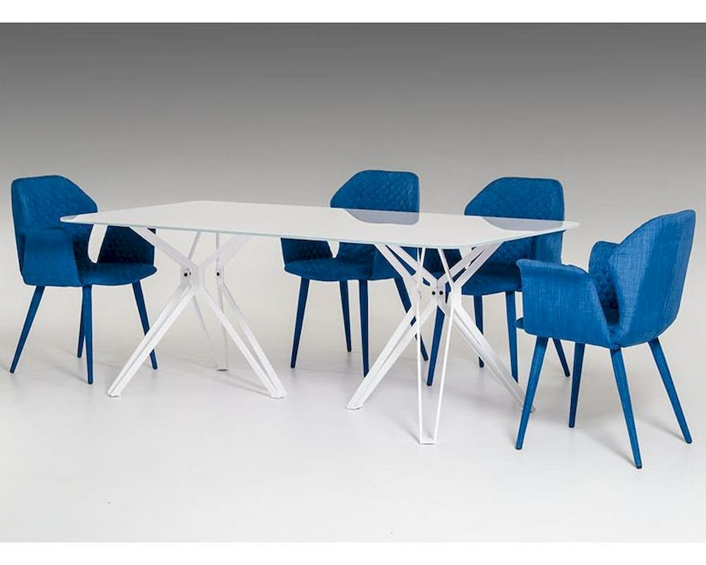 Modern White Dining Set W Glass Dining Table 44d6105set1
