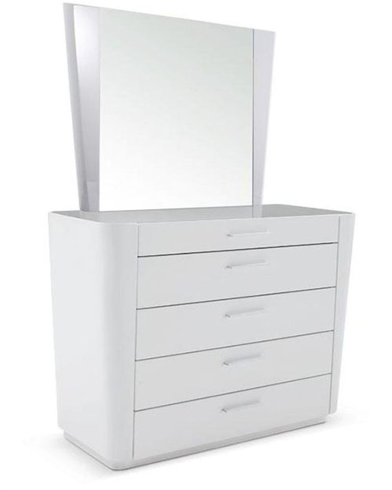 modern white dresser w mirror 44b203dm. Black Bedroom Furniture Sets. Home Design Ideas