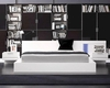 Modern White Finish Bed with Night Stands Made in Italy 44B112W