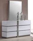 Modern White Finish Dresser w/ Mirror 44B178DM