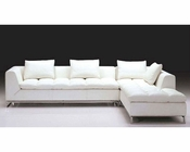 Modern White Finish Leather Sectional Sofa 44L2936-SEC