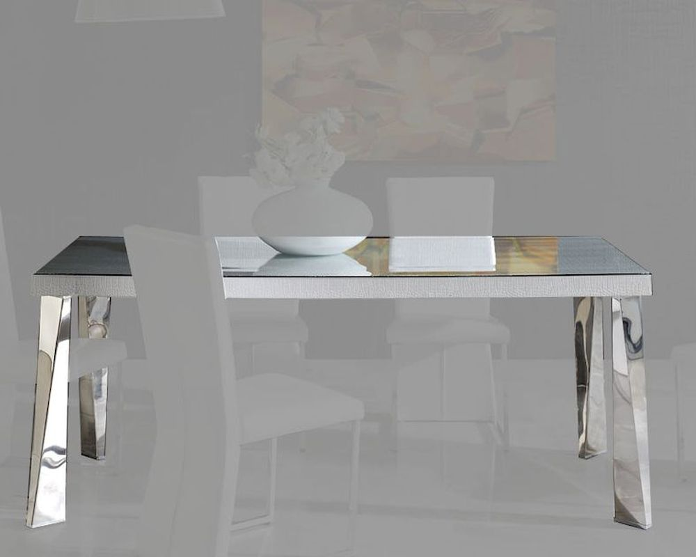 Modern white glass top dining table cruz european design for Glass top dining table next