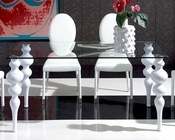 Modern White Glass Top Dining Table European Design Spain 33D212