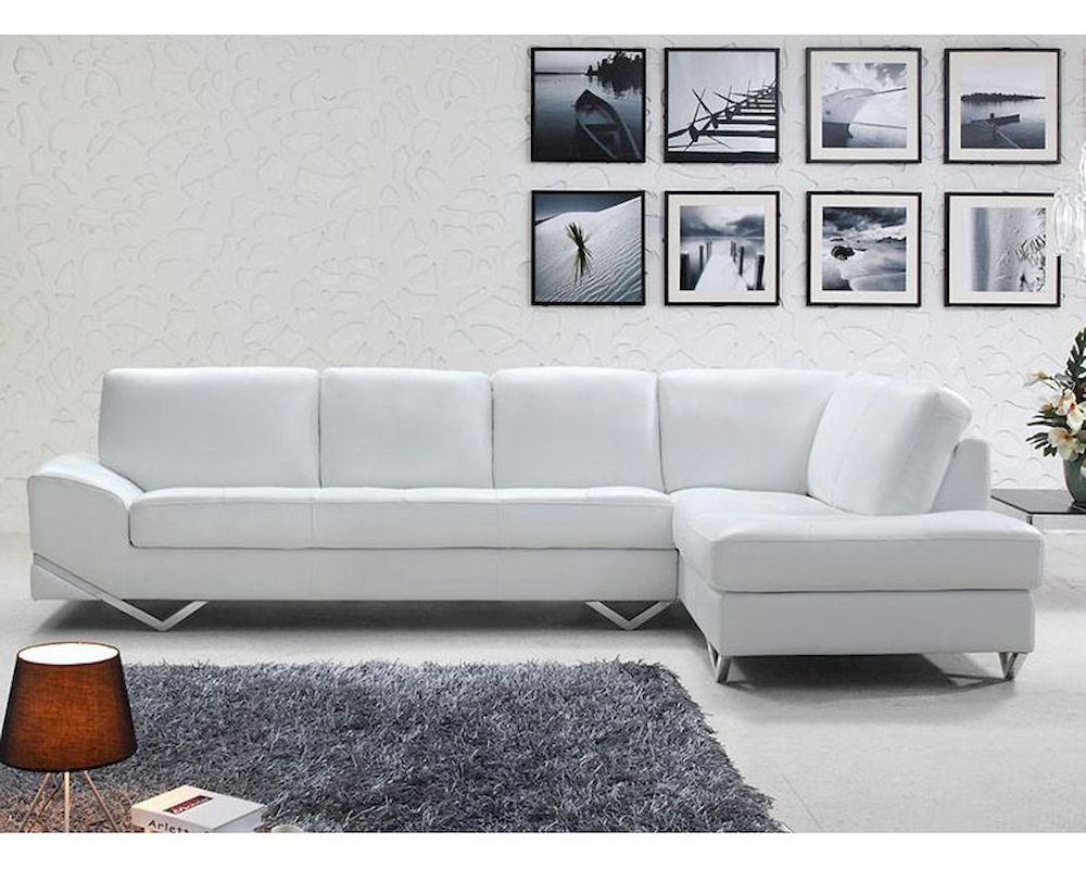 Modern white or latte leather sectional sofa set 44l6064 for Sectional sofa set up