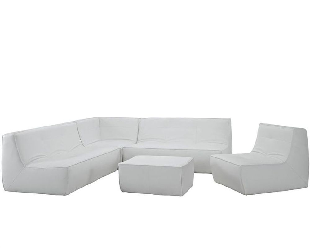 Modway Align 5 Piece Leather Sectional Sofa In White My