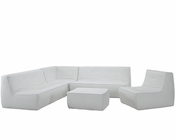 Modway Align 5 Piece Leather Sectional Sofa in White MY-EEI-1014