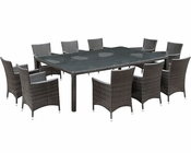 Modway Patio Alfresco Dining Set in Brown/ White MY-EEI834BW