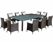 Modway Patio Bella Vista Dining Set in Brown/ White MY-EEI832BW