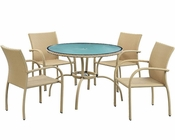 Modway Patio Circulo Dining Set in Flaxen MY-EEI847F