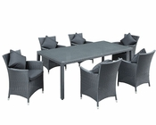 Modway Patio Panorama Dining Set in Black MY-836B