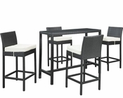 Modway Portland 5 Piece Pub Set in Espresso White MY-EEI-1005